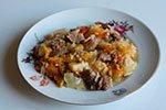 859. Говядина, тушенная с овощами и рисом