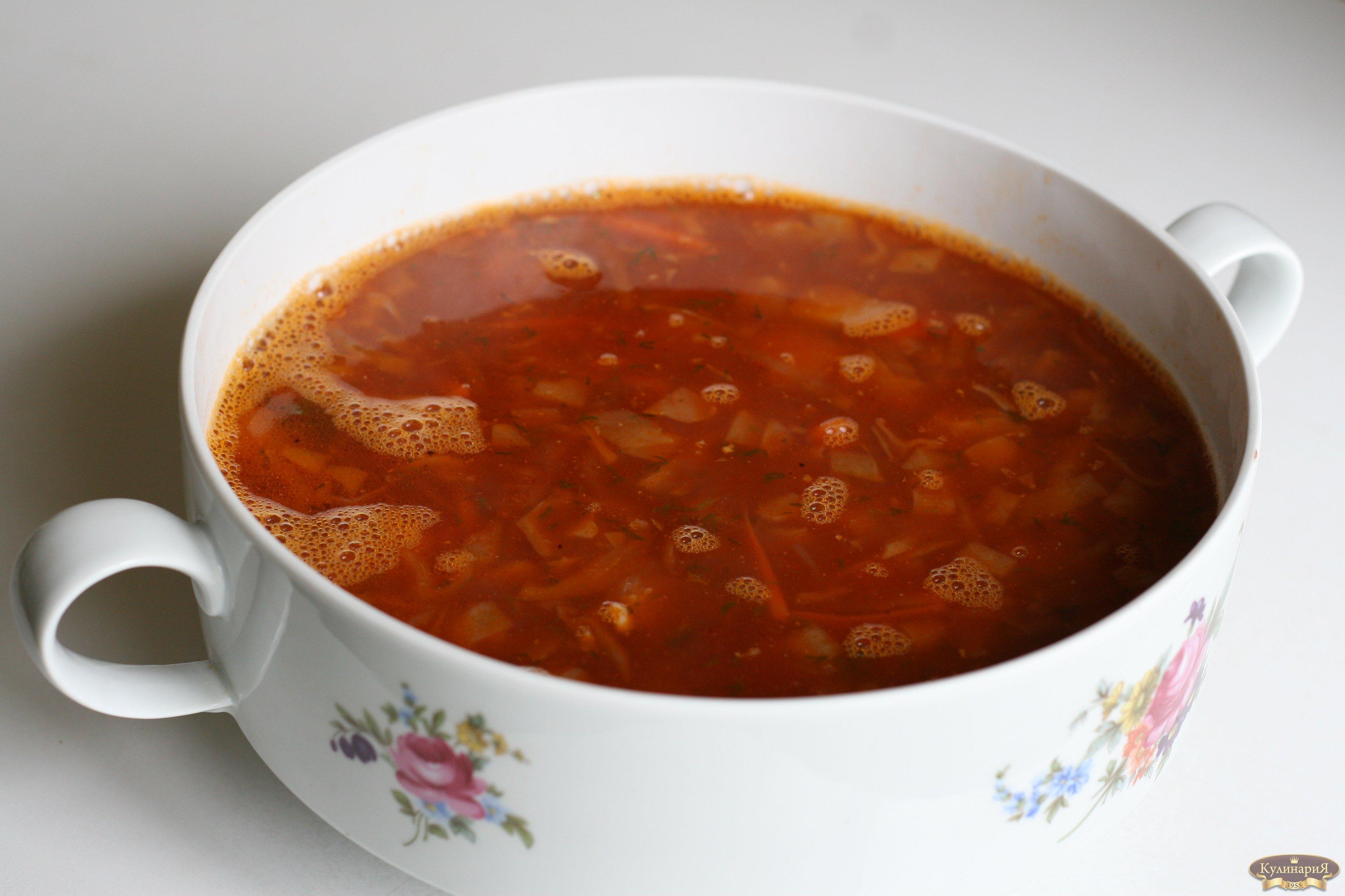 рецепт борщ с капустой и листьями петрушки